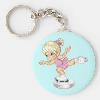 Ice Skating Girl Basic Round Button Keychain