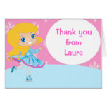 Ice Skating Girl Birthday Thank You Note Card