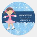 Ice Skating Girl (Blue) Classic Round Sticker