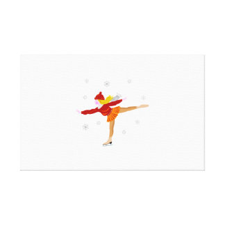 Ice skating girl cartoon gallery wrapped canvas