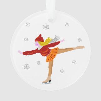 Ice skating girl cartoon ornament