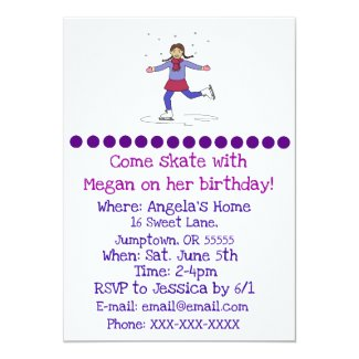 Ice Skating Girl Figure Skater Birthday Invitation