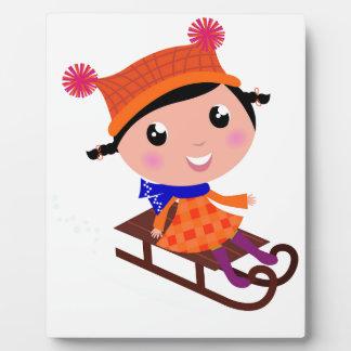 Ice skating girl Orange Plaque