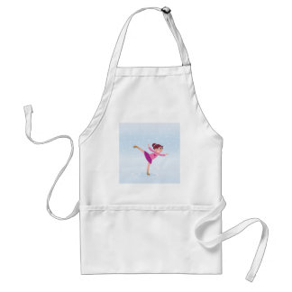 Ice Skating girl : Pink and blue on ice Adult Apron