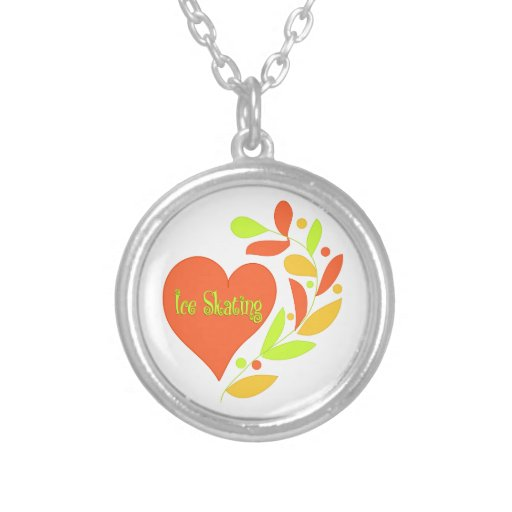 Ice Skating Heart Round Pendant Necklace