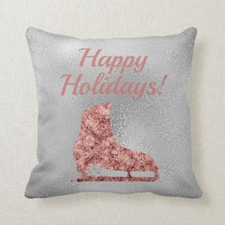 Ice skating Holiday decor - rose gold sparkle Throw Pillow
