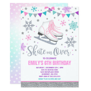 Ice skating Invitation Ice Skating Party Silver