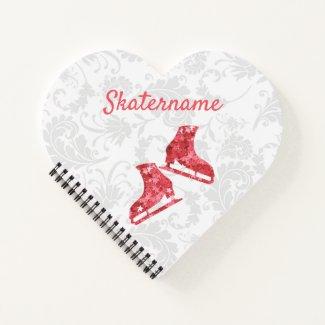 Ice skating journal Notebook - Girl red stars