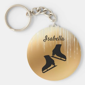 Ice skating keychain ice skates Gold icicle