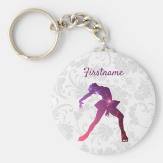 Ice skating keychain - Pink Purple Figure skater