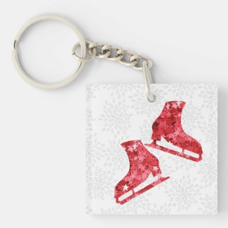 Ice skating keychain - Red stars Born to skate