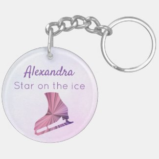 Ice skating keychain star figure skater purple