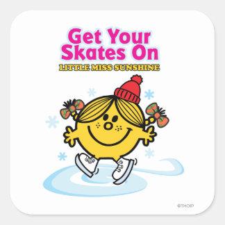 Ice Skating Little Miss Sunshine Square Sticker