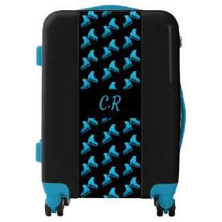 Ice skating luggage figure skates turquoise blue
