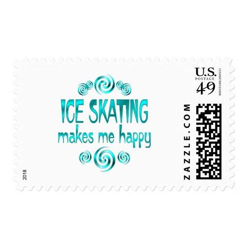 Ice Skating Makes Me Happy Stamp