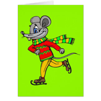 Ice Skating Mouse Card