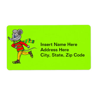 Ice Skating Mouse Shipping Label