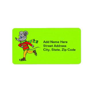Ice Skating Mouse Custom Address Labels