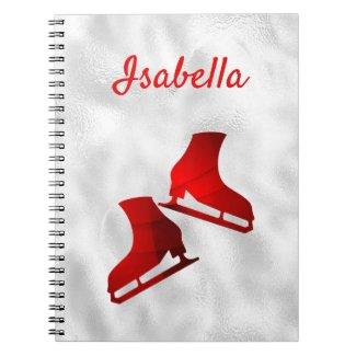 Ice skating notebook figure skate red