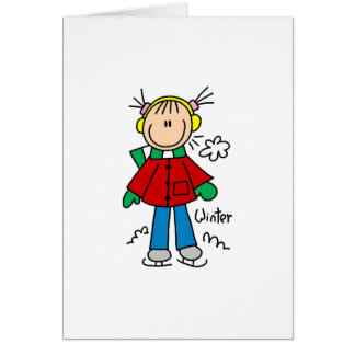Ice Skating On A Cold Winter Day Card