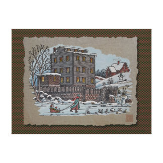Ice Skating On Gristmill Pond Stretched Canvas Print