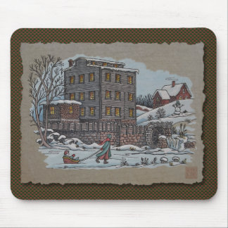 Ice Skating On Gristmill Pond Mouse Pad