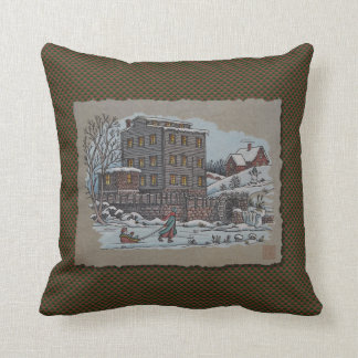 Ice Skating On Gristmill Pond Throw Pillow