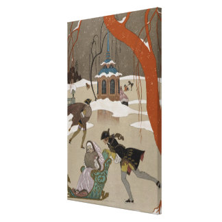Ice Skating on the Frozen Lake Stretched Canvas Print