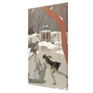 Ice Skating on the Frozen Lake illustration for Gallery Wrap Canvas