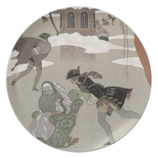 Ice Skating on the Frozen Lake,  illustration for Melamine Plate