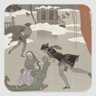Ice Skating on the Frozen Lake,  illustration for Square Sticker
