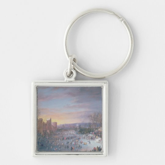 Ice Skating on the Stadtgraben in Brussels, 1649 Keychain