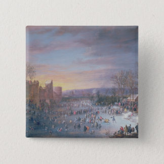 Ice Skating on the Stadtgraben in Brussels, 1649 Pinback Button