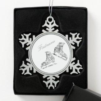 Ice skating ornament - Silver skates