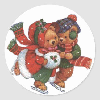 ice Skating Pair Classic Round Sticker