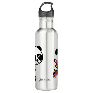 Ice Skating Panda Water Bottle