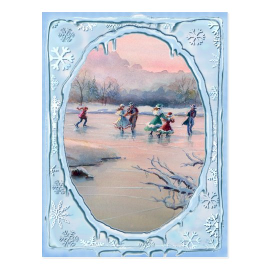 ICE SKATING PARTY by SHARON SHARPE Postcard