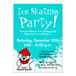 Ice skating party invitations | Custom invites