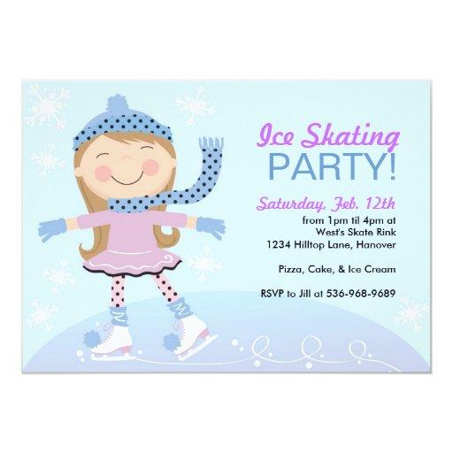 Ice Skating Party Invitations with girl skating