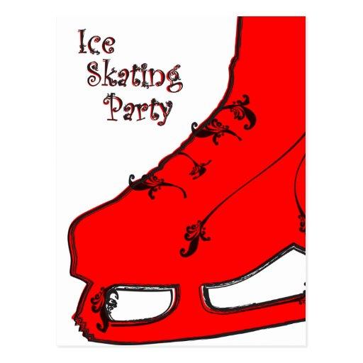 ice skating party paisley invitation postcards