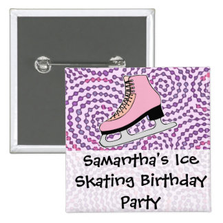 Ice Skating Party, Pink Skate Button