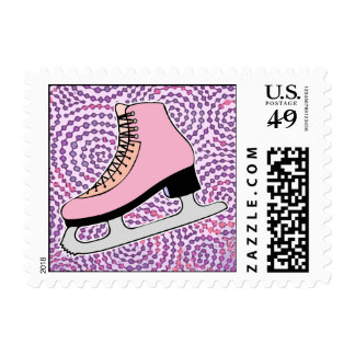 Ice Skating Party, Pink Skate Postage Stamps