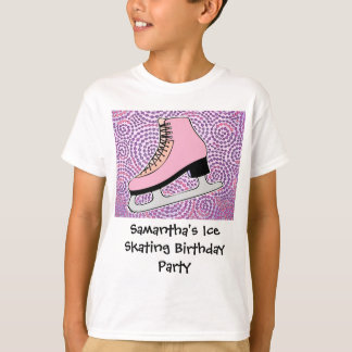 Ice Skating Party, Pink Skate T-Shirt