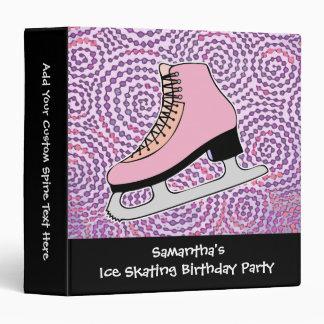 Ice Skating Party, Pink Skate Vinyl Binders