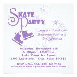Ice Skating Party Purple 5.25x5.25 Square Paper Invitation Card
