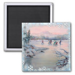 ICE SKATING PARTY & SNOWFLAKES by SHARON SHARPE Fridge Magnet