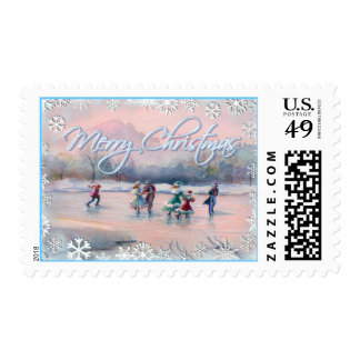 ICE SKATING PARTY & SNOWFLAKES by SHARON SHARPE Postage