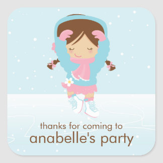 Ice Skating Party Square Sticker