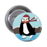 Ice Skating Penguin Button