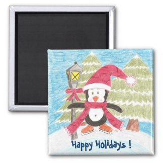 Ice skating penguin, Happy Holidays ! Magnet
